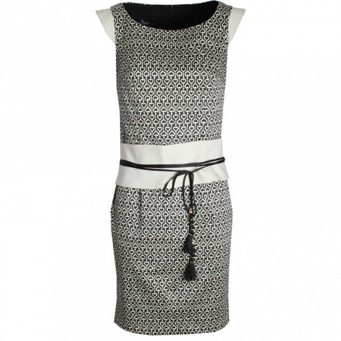 Badoo Sleeveless Printed Dress With Wide Belt