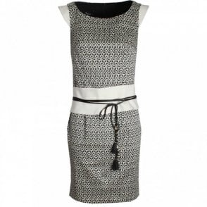 Sleeveless Printed Dress With Wide Belt