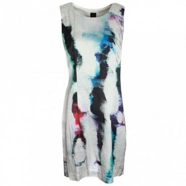 Sleeveless Printed Silk Shift Dress