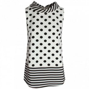 Sleeveless Roll Collar Spot Top