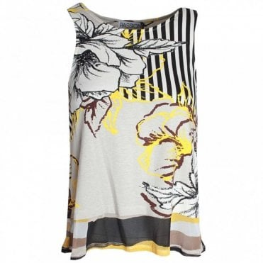 Passioni Sleeveless Round Neck Printed Top