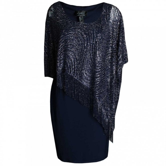 Frank Lyman Sleeveless Shift Dress With Lace Shawl