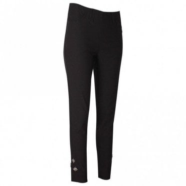 Laurie Slim Cropped Leg Black Trousers