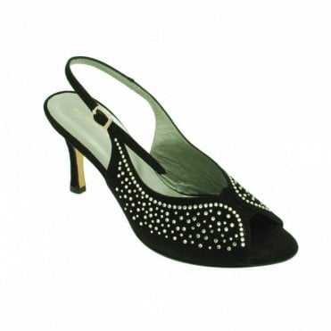 Slingback Peep Toe With Diamante Trim