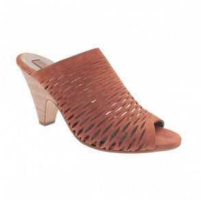 Slip On Peep Toe Heeled Mule Shoe