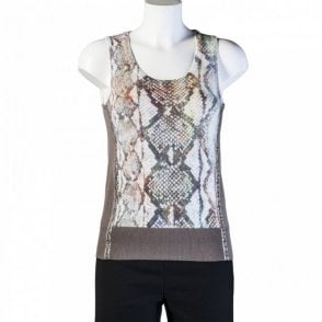 Tuzzi Snake Print Sleeveless Knit Top