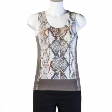 Snake Print Sleeveless Knit Top