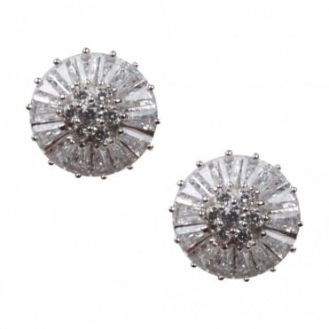 Nour London Snowflake Design Diamante Stud Earrings