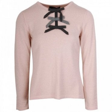Soft Fine Knit Jumper With Bow Detail