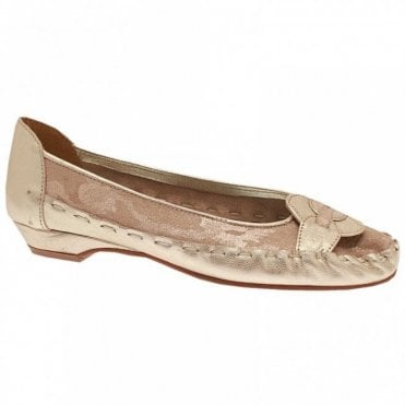 Zaccho Soft Gold Leather Slip On Ballet Pump