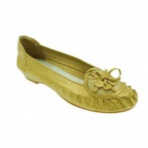 Soft Gold Moccasin Flat Pump