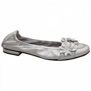 Soft Leather Flower Detail Ballet Pump