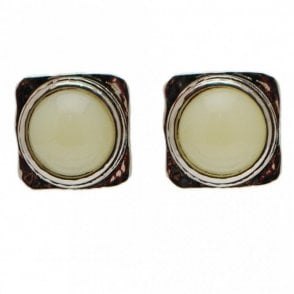 Square Circle Stone Stud Earrings