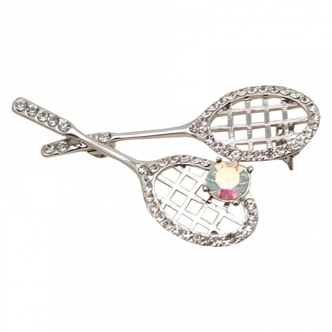 Nour London Stone Enscrusted Double Racket Brooch