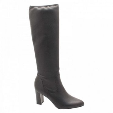 Peter Kaiser Stretch Black Leather Calf Hight Boots