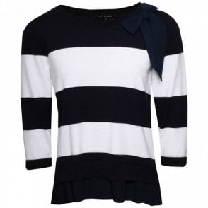 Stripe Knitted Jumper With Bow Detail