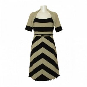 Stripe Pattern Dress With Patent Belt