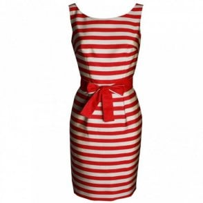 Stripe Sleveless Dress With Belt