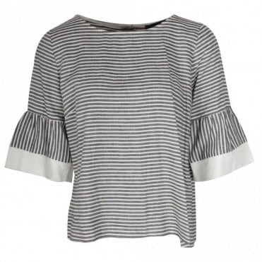 Latte Striped 3/4 Bell Sleeve Linen Top