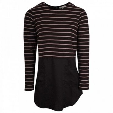 Stripped Tunic Style Long Sleeve Top