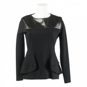 Structured Leather Panel Jersey Top