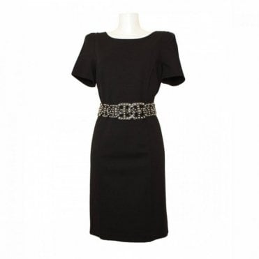 Structured Shift Dress With Studded Belt