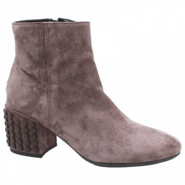 Studded Block Heel Grey Suede Ankle Boot