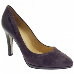 Suede And Patent High Heel Court Shoe