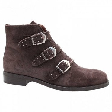 Suede Ankle Boot With Buckle Detail