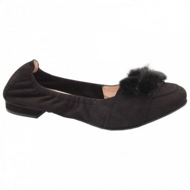 Suede Ballet Flat With Faux Fur Trim
