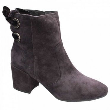 Alpe Suede Leather Block Heel Ankle Boot