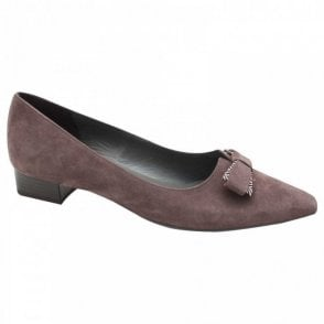 Peter Kaiser Suede Leather Low Block Heel Court Shoe