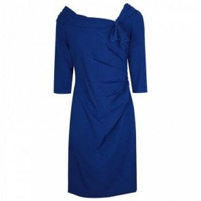 Sweeping Cowl Neck 3/4 Sleeve Blue Dress