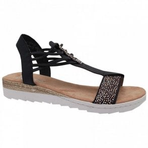 T-bar Diamante Slip On Sandal