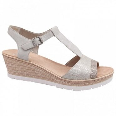 Rieker T Bar Wedge Sandal