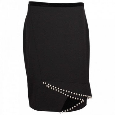 Tailored Black Pencil Skirt With Pearls