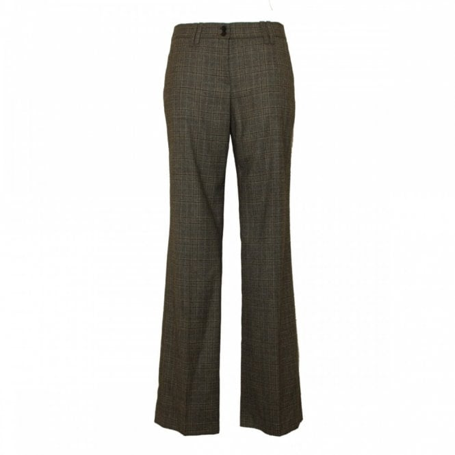 Brax Tailored Checked Pattern Wool Trousers