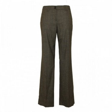 Tailored Checked Pattern Wool Trousers