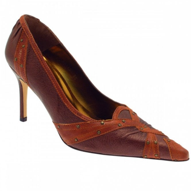 Carmen Poveda Tan And Burg High Court Shoe With Studs