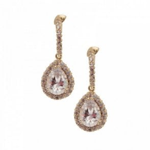 Tear Drop Crystal And Diamante Earrings