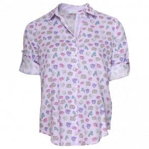 Just White Telephone Print Lilac Shirt
