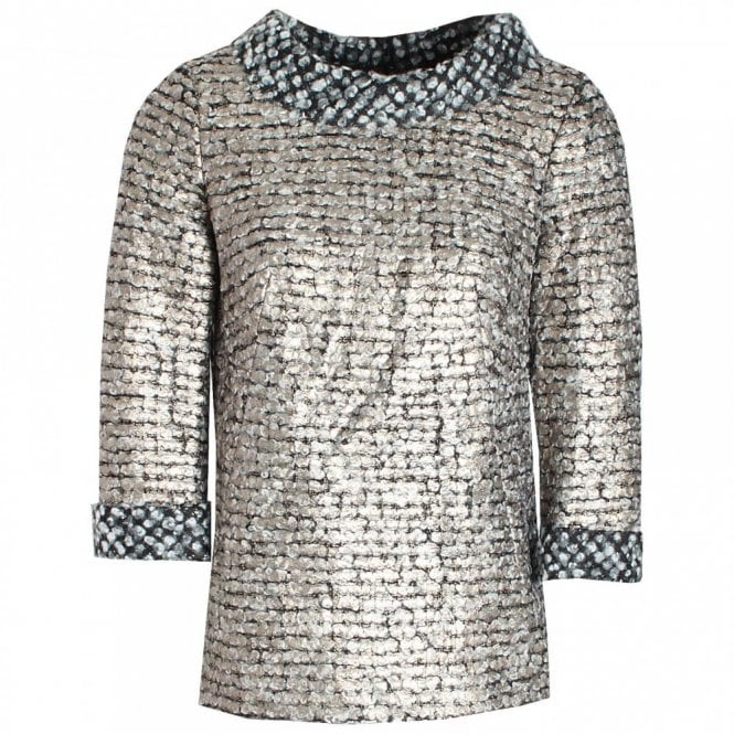 Paola Collection Textured Long Sleeve Metallic Top