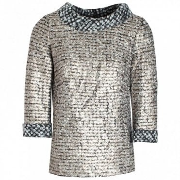 Textured Long Sleeve Metallic Top
