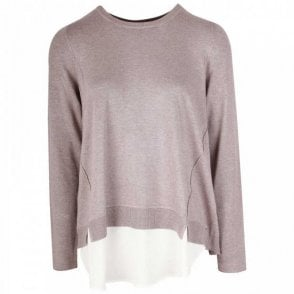 Oui Thin Knit Long Sleeve Layered Jumper