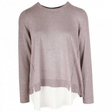 Thin Knit Long Sleeve Layered Jumper