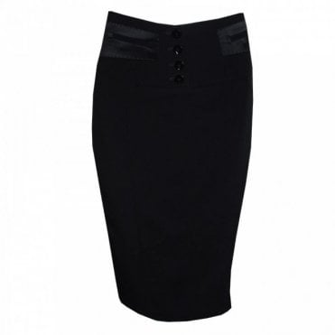 Three Button Contrast Panel Pencil Skirt
