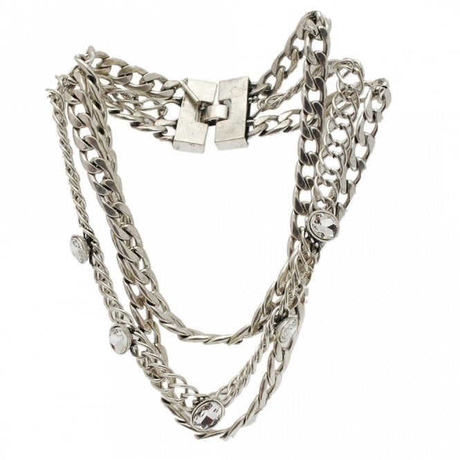 Nour London Three Chain Diamante Detail Necklace