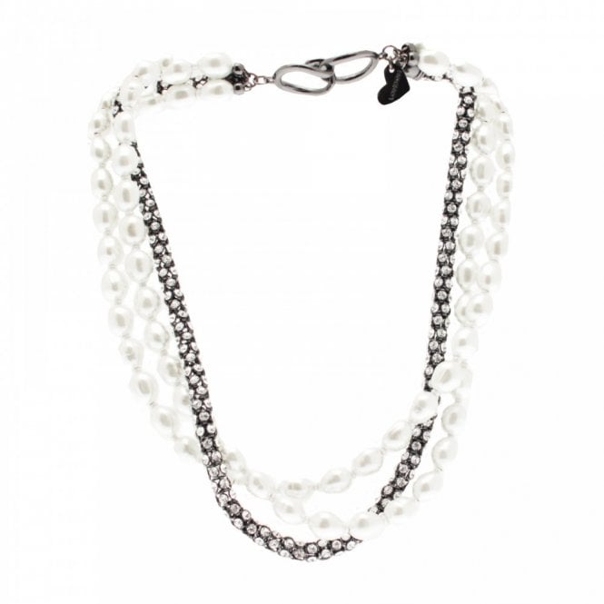 Nour London Three Chain Pearl And Diamante Necklace