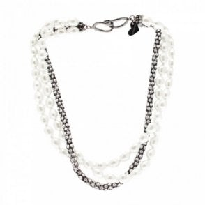 Three Chain Pearl And Diamante Necklace