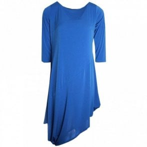 Latte Three Quarter Sleeve Asymmetric Dress